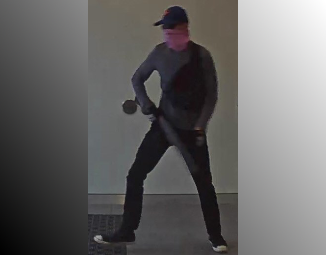 Police provided photo shows suspect in attempted robbery of the Scotiabank branch on Mapleview Drive East in Barrie.