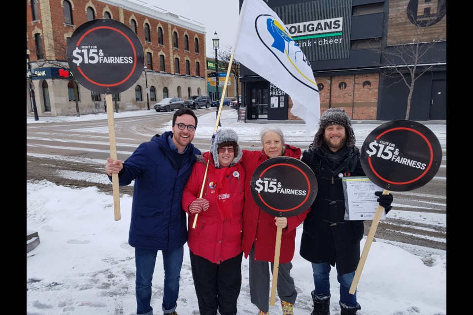 From left, Ward 2 city councillor Keenan Aylwin, Anita Johnson-Ford, Bonnie North and Dan Janssen brave the frigid temperatures to have their voices heard on Jan. 25, 2019. Shawn Gibson/BarrieToday