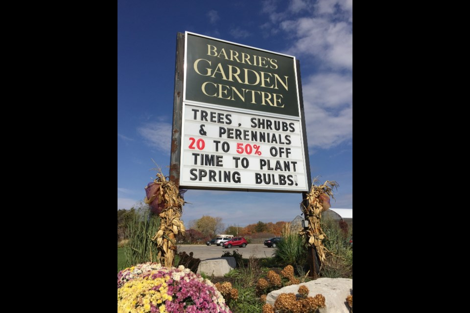 Barrie's Garden Centre is located on Bayview Drive and Big Bay Point.