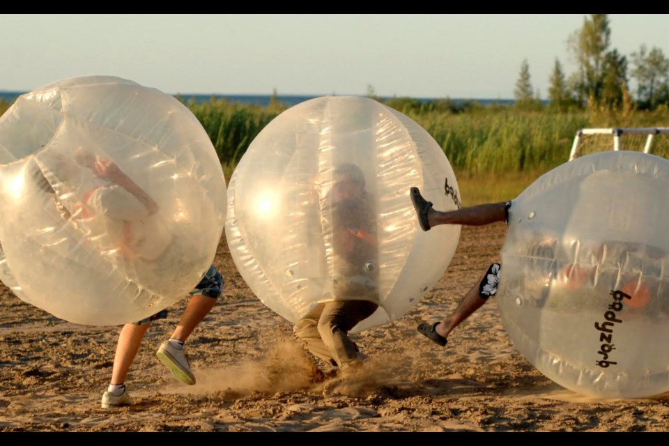 Hamster ball races. Photo provided by Elephant Thoughts.