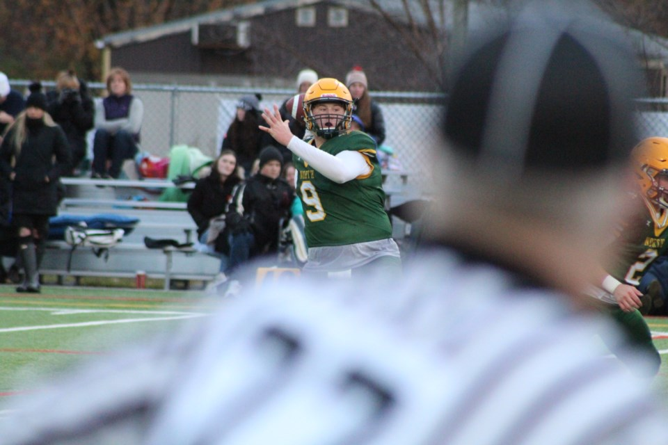 Barrie North Vikings quarterback Zach Patfield steps back to make a throw during Thursday's Simcoe County Athletic Association (SCAA) championship game at J.C. Massie Field in Barrie. Raymond Bowe/BarrieToday