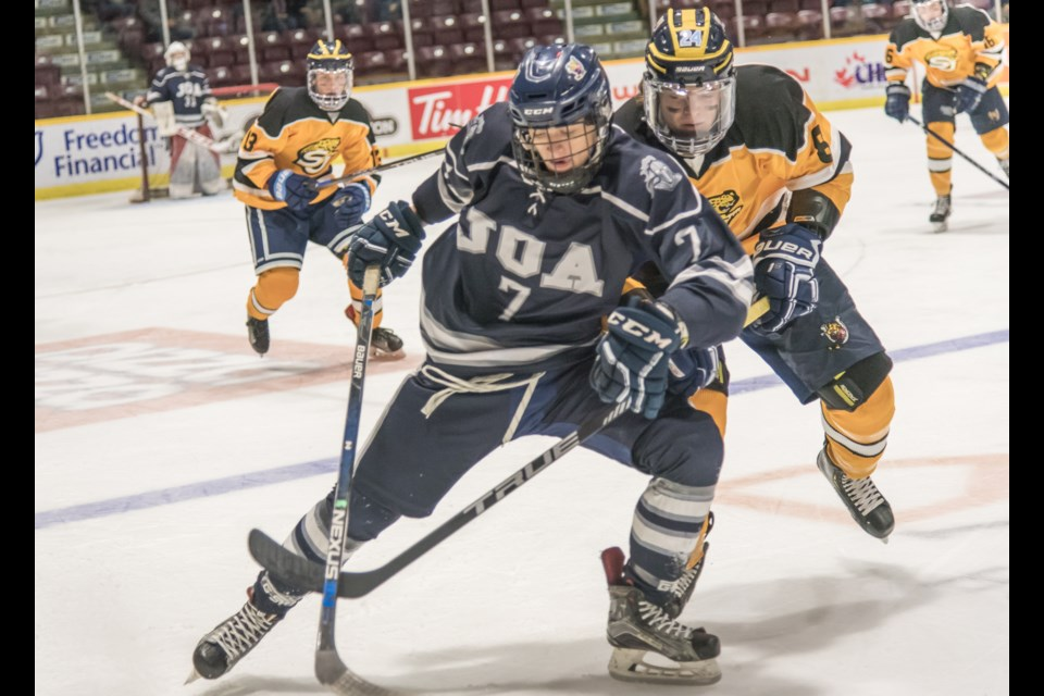Action at the Monsignor Clair Cup at the Barrie Molson Centre on Wednesday, Dec. 5, 2018. Nicole Wolfe for BarrieToday