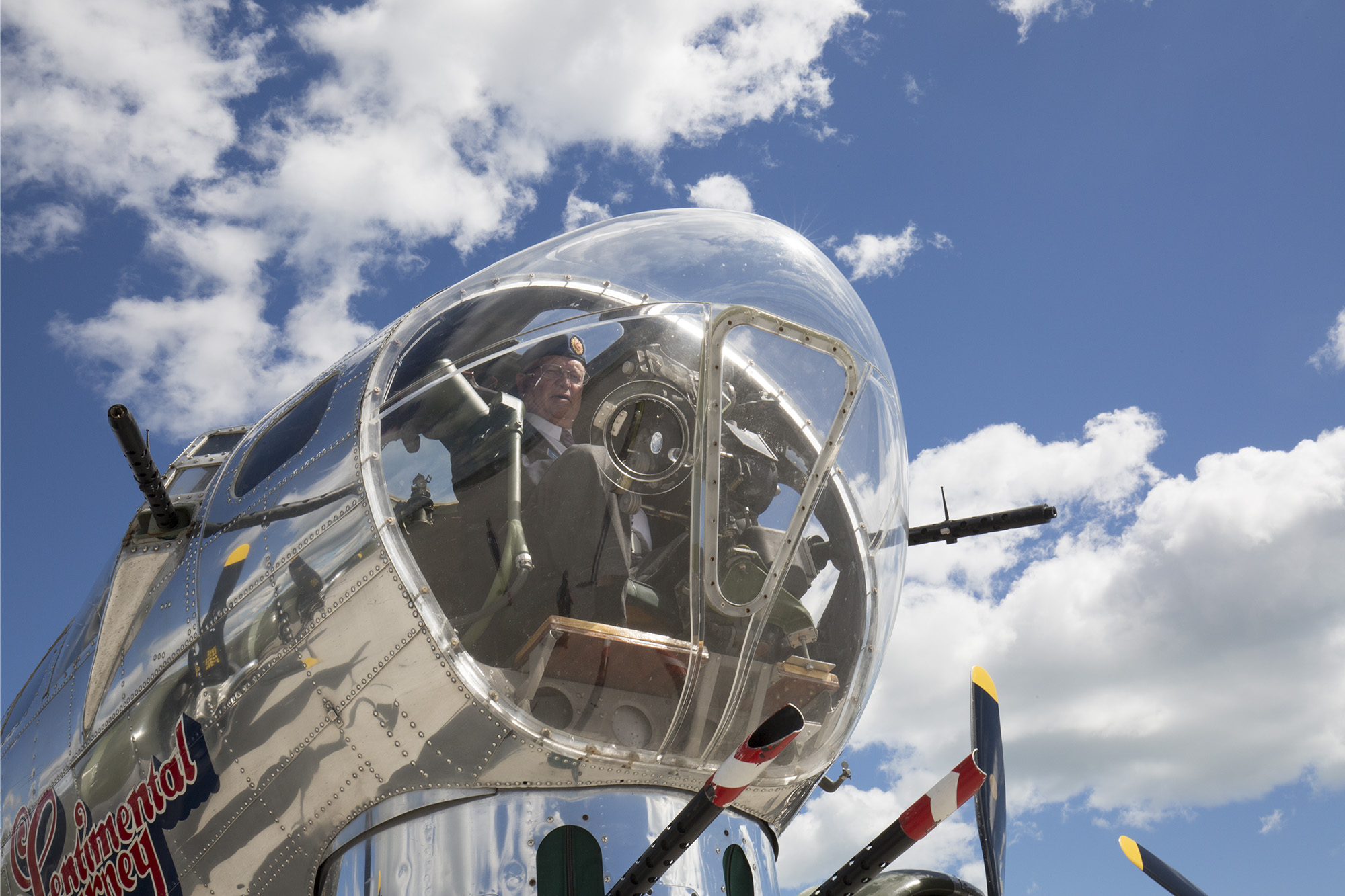 Veteran Bob Sparling Sits In The Bombardieru0027s Position Inside A Restored  B 17G Bomber Today