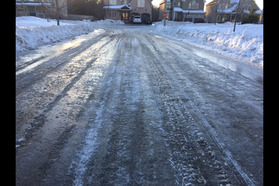 The roads were quite icy on the streets of Barrie and the surrounding area. Photo by Sue Sgambati for BarrieToday.