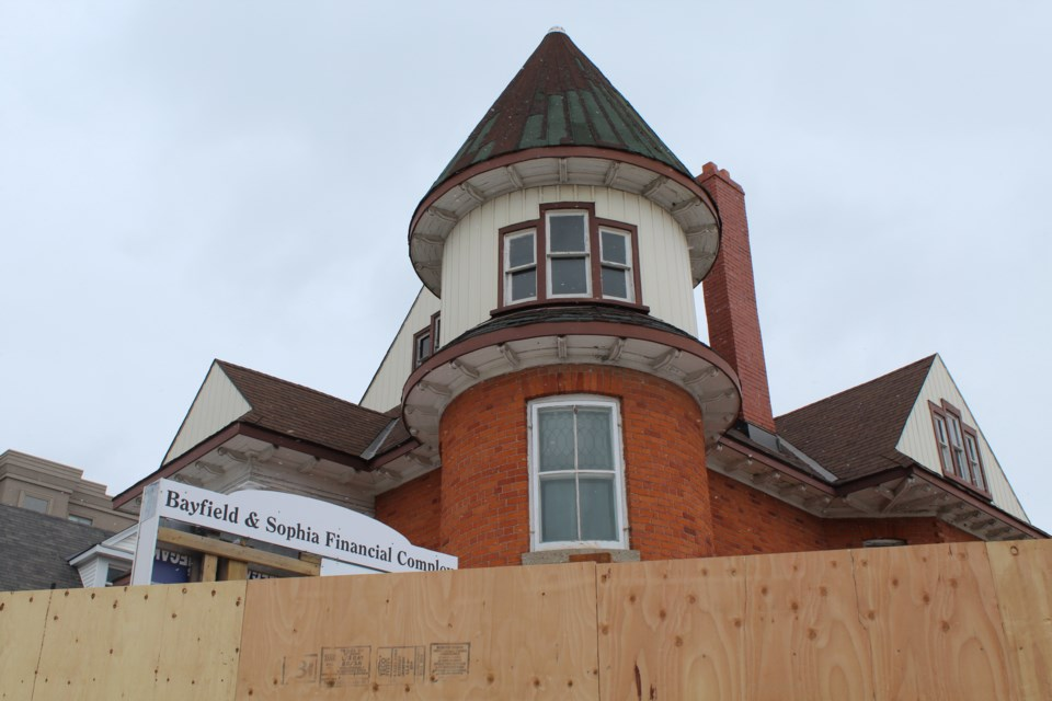 Five buildings at the corner of Bayfield and Sophia streets in downtown Barrie have been granted permits for demolition, which is expected to happen in the coming weeks. Raymond Bowe/BarrieToday
