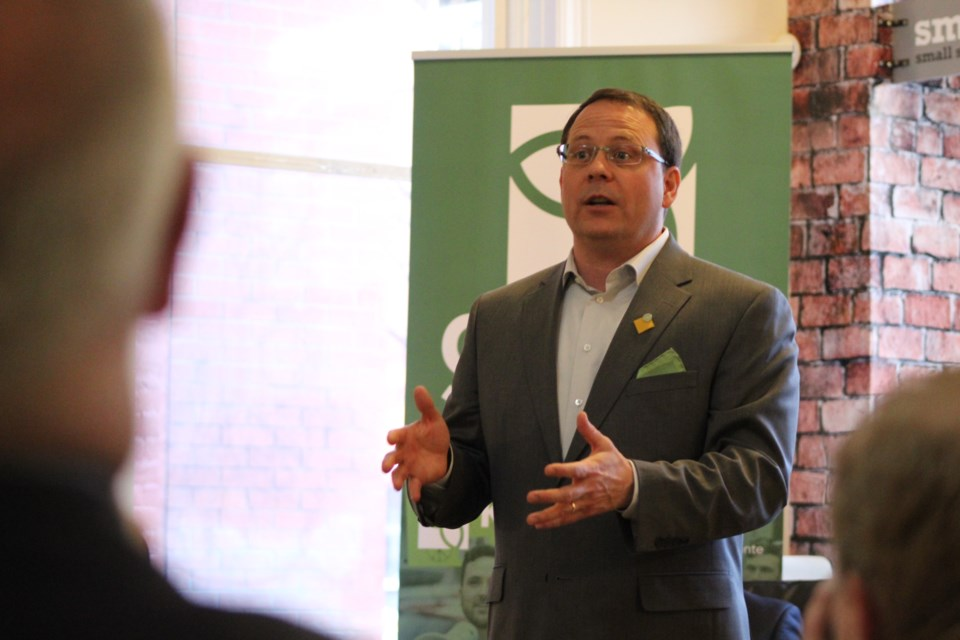 Green Party of Ontario leader Mike Schreiner speaks to supporters during an event Wednesday night in downtown Barrie. Raymond Bowe/BarrieToday