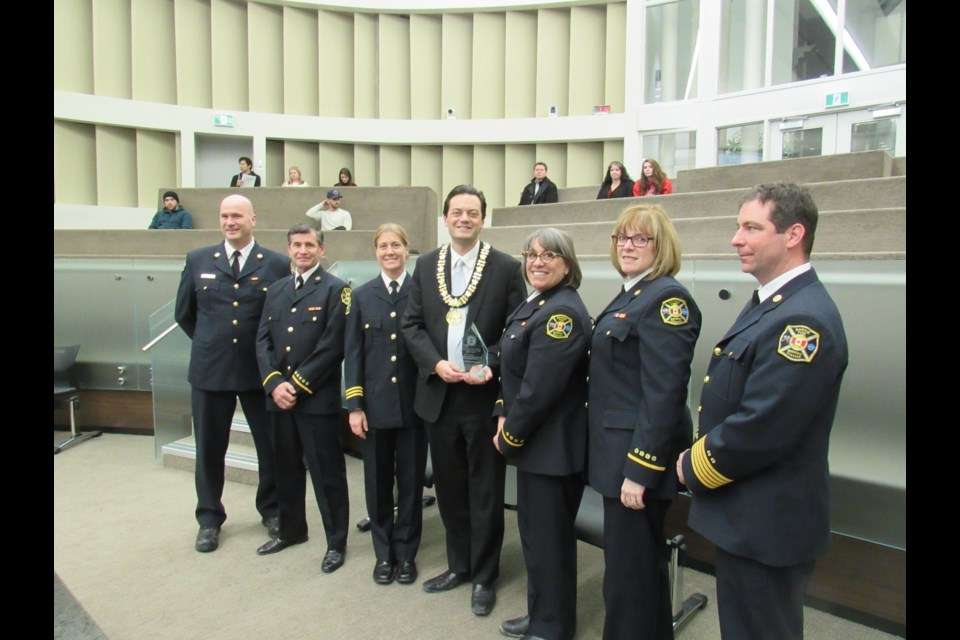The International Association of Firefighters Media Award was presented to Barrie Fire and Emergency Services representatives at a city council meeting on Monday. Shawn Gibson for BarrieToday