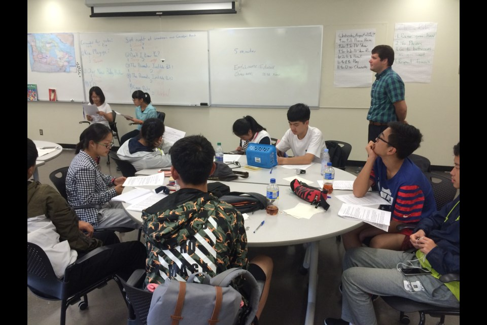 Chinese students in North Bay studying English as a Second Language.  Photo by Linda Holmes.