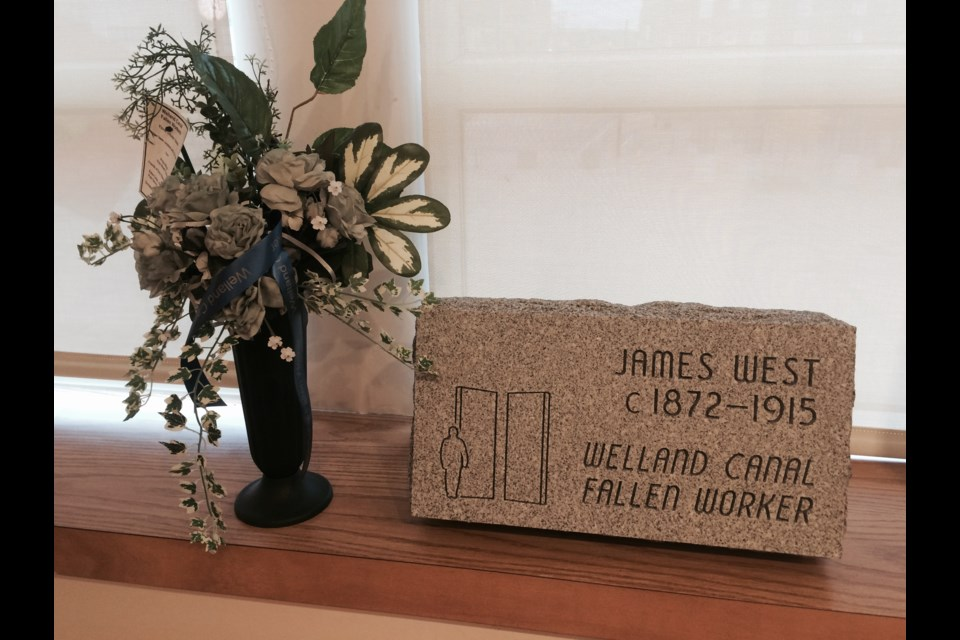 Grave marker for North Bay man killed in 1915,  while working on the Welland Ship Canal.