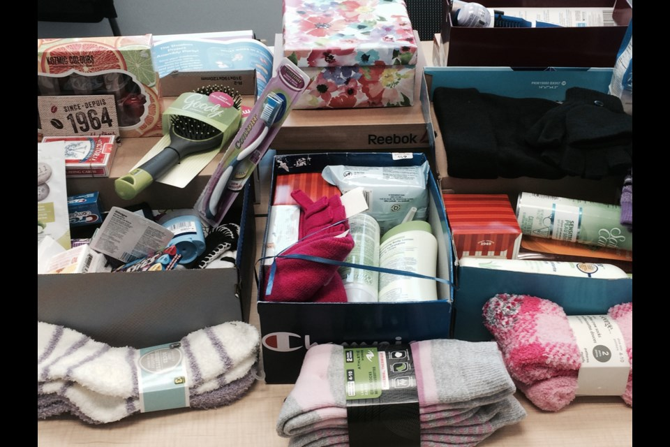Thirty shoeboxes filled with comfort items donated to the Nipissing Transition House by the women of CFB North Bay
