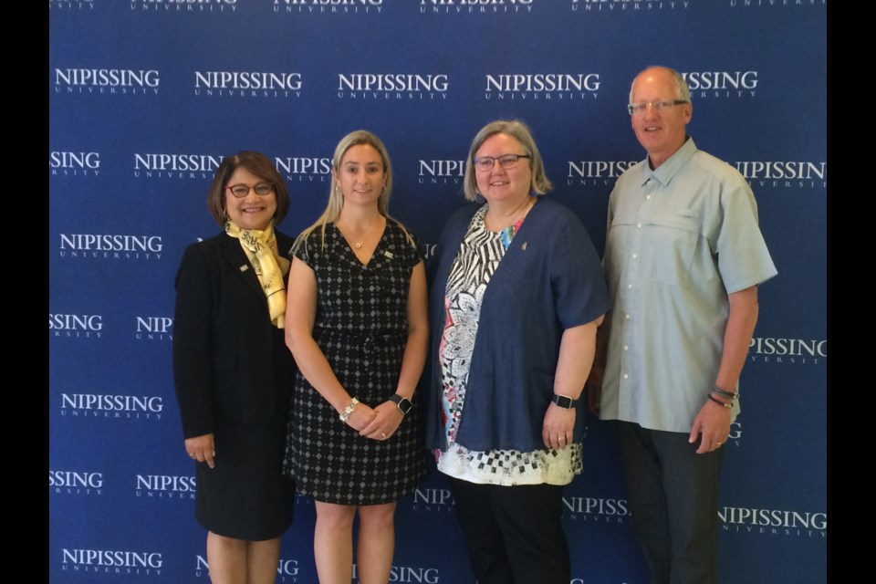 Dr.Louela Manankil-Rankin, Dr Karey McCullough, Dr. Arja Vainio-Mattila and Dr. Rick Vanderlee attend Nipissing University funding and Best Practice announcement