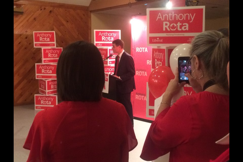 Nipissing-Timiskaming MP Anthony Rota addresses supporters  at the Liberal nomination meeting in North Bay