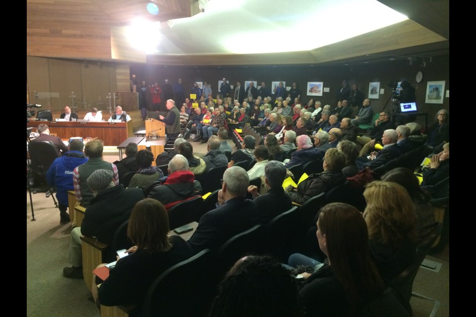 North Bay City Council Chambers packed to hear nearly 19 presenters tell why council should be voting 'no' to a casino.