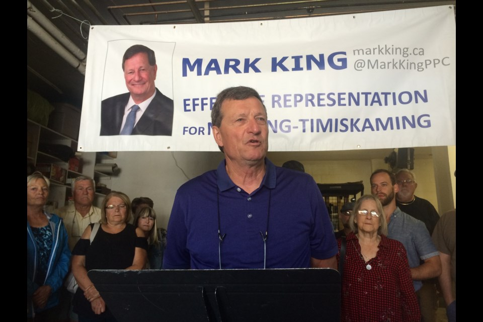 Mark King makes history as the first People's Party of Canada candidate for election in the riding of Nipissing-Timiskaming.