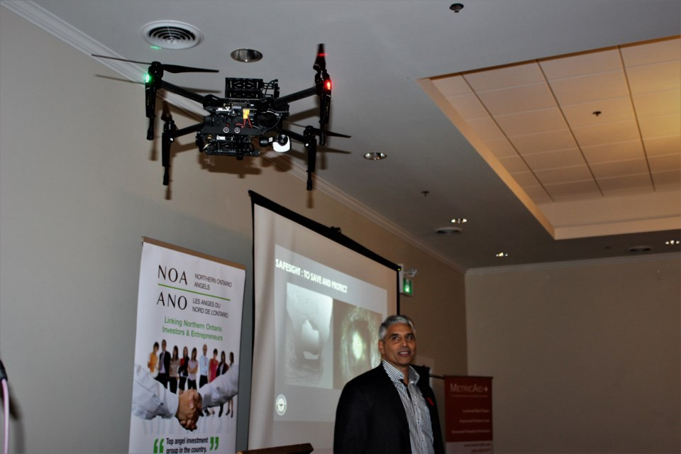 SafeSight gave drone flight demonstrations during their PITCH. (Photo by Ryen Veldhuis)