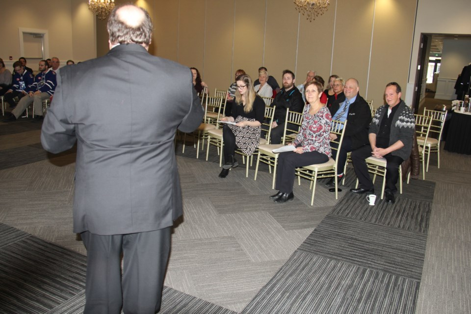 Councillor Chris Mayne speaks to grant recipients. Jeff Turl/BayToday
