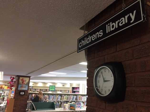 20180307 public library north bay turl childrens sign and clock