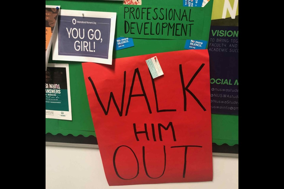 Employees at the Education Centre are making their desire for a respectful and safe workplace well known by using signs on bulletin boards. Supplied.