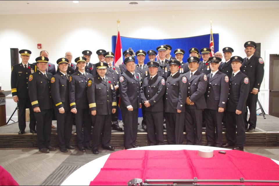 All the personnel who received an award Monday night. Photo Supplied.