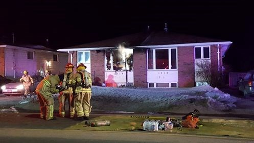 Fire crews battle an early morning blaze on McKeown avenue.  Photo submitted.
