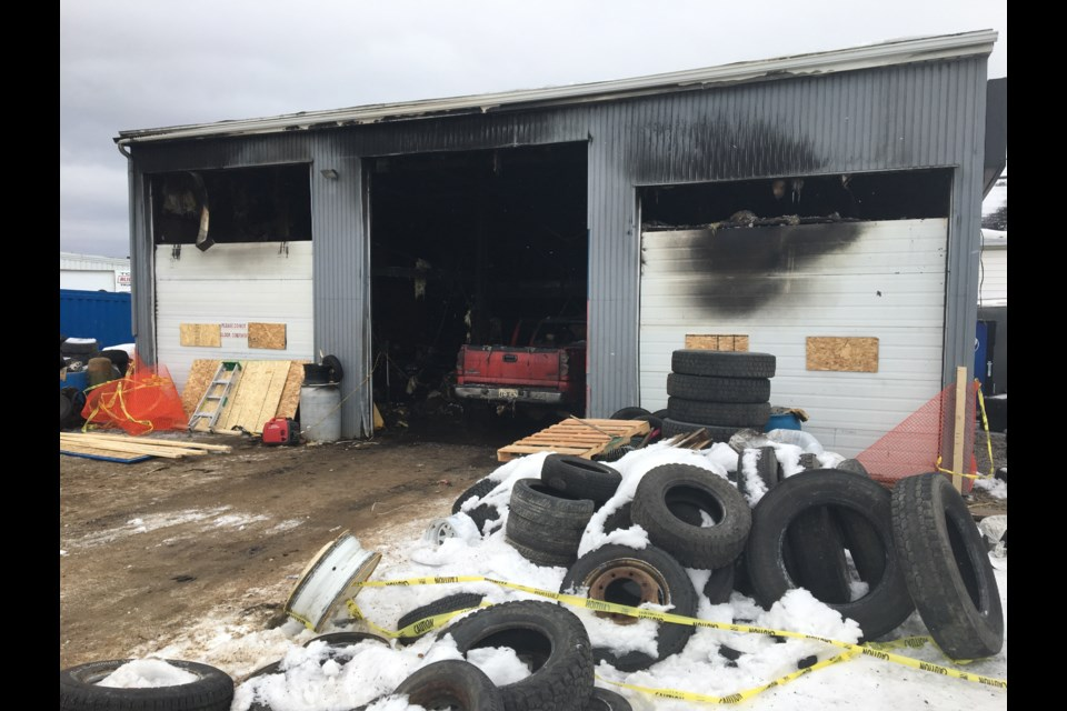 A view of the damage outside the Cholette Street tire business Monday morning.  Photo by Chris Dawson/BayToday.ca.
