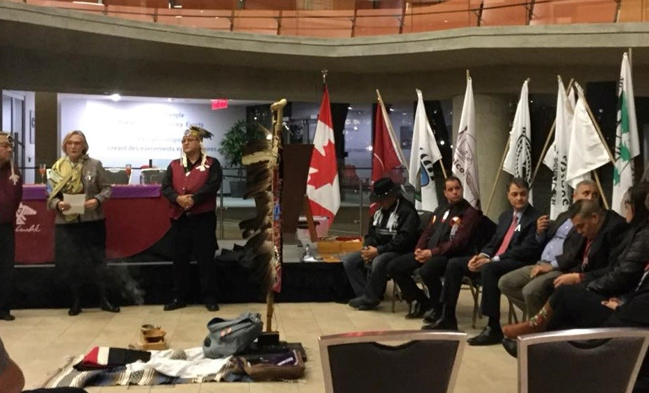 Minister Carolyn Bennett, Minister Crown-Indigenous Relation and Northern Affairs with a few words on the success of Bill C-61, the Anishinabek Nation Education Agreement Act. Courtesy Anishinabek Nation
