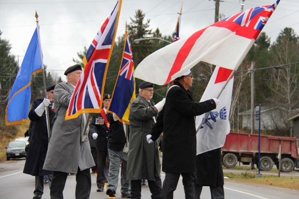 East Ferris Remembrance Day Ceremony opening parade. Jeff Turl/BayToday.