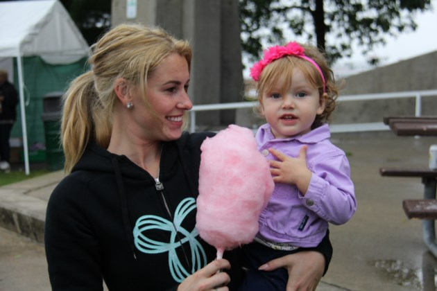 USED170908 8 Katie Mcgrath and daughter Sarenity,2  enjoy cotton candy at Labour Day picnic. Photo by Brenda Turl for BayToday.