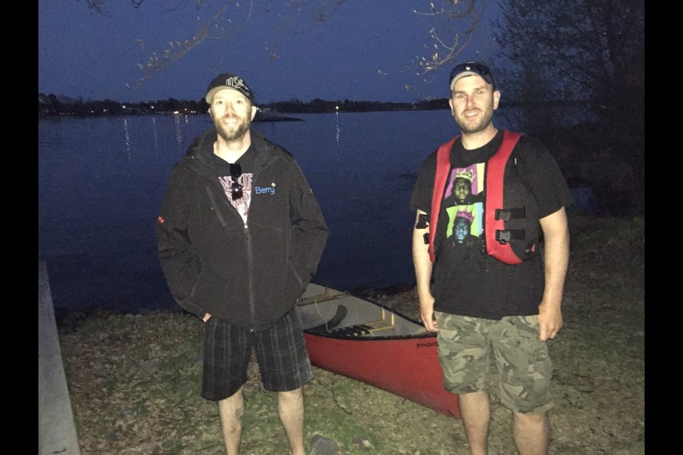 Quick action by friends Derek Nowry and Patrick Cormier helped save three lives last evening in Lake Nipissing. Jeff Turl/BayToday.