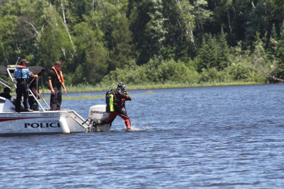 Opp divers assisted in the search of the Sturgeon River.  Michelle Giroux Scott