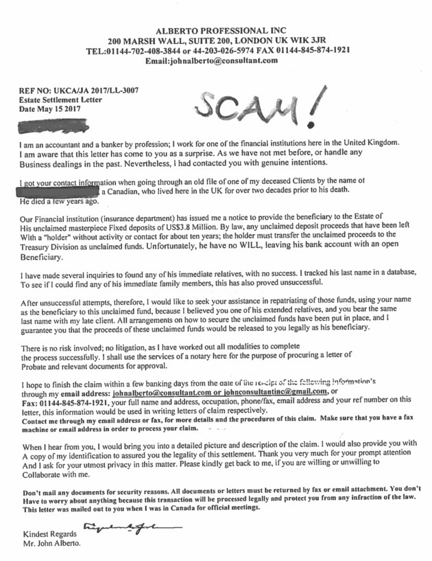 Police warn of ongoing inheritance letter scam   BayToday.ca