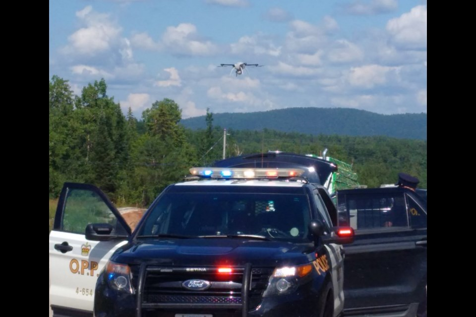 OPP are using drone technology to investigate today's traffic accident on Highway 17 East,