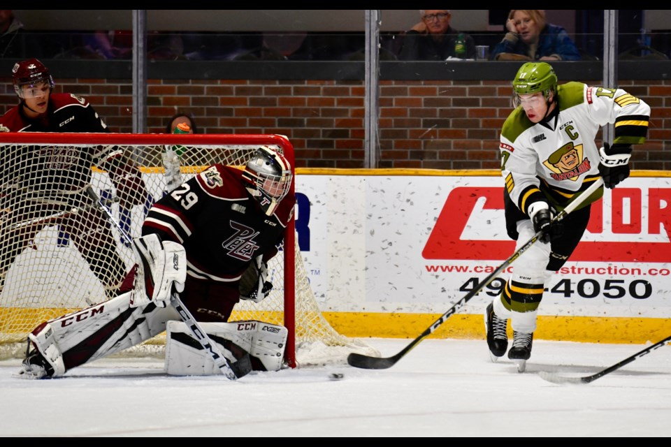 "The first period was one of ""missed opportunity for the Battalion's Justin Brazeau.  Photo by Tom Martineau/BayToday.ca"