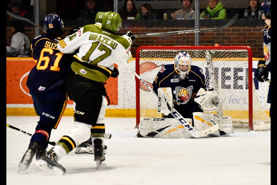 Justin Brazeau with his first of four goals on the afternoon.  Photo by Tom Martineau/BayToday.ca.