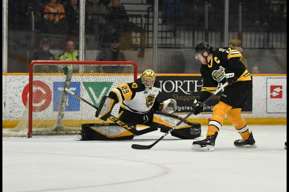 Justin Brazeau nets his 60th of the campaign.  Photo by Tom Martineau/BayToday.ca.
