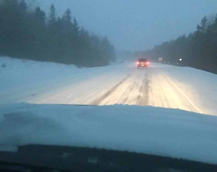 Road conditions are poor on Highway 11 this morning. Photo courtesy Timiskaming District Road Safety Coalition.