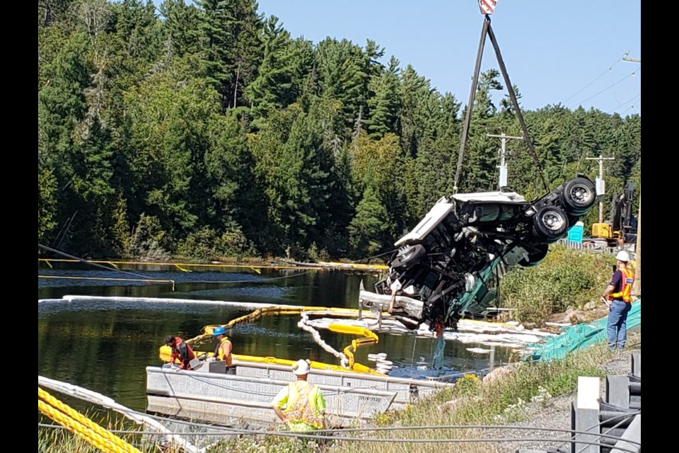 The transport truck has successfully been removed from Angus Lake near Temagami. Courtesy OPP.