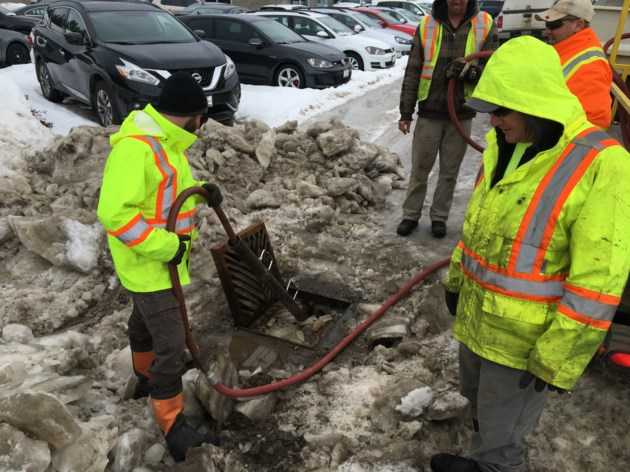 20190314 clearing storm drains