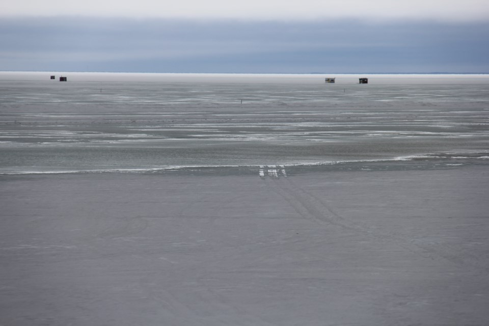 Snowmobile tracks are clearly visible in the Lake Nipissing slush. Jeff Turl/BayToday.