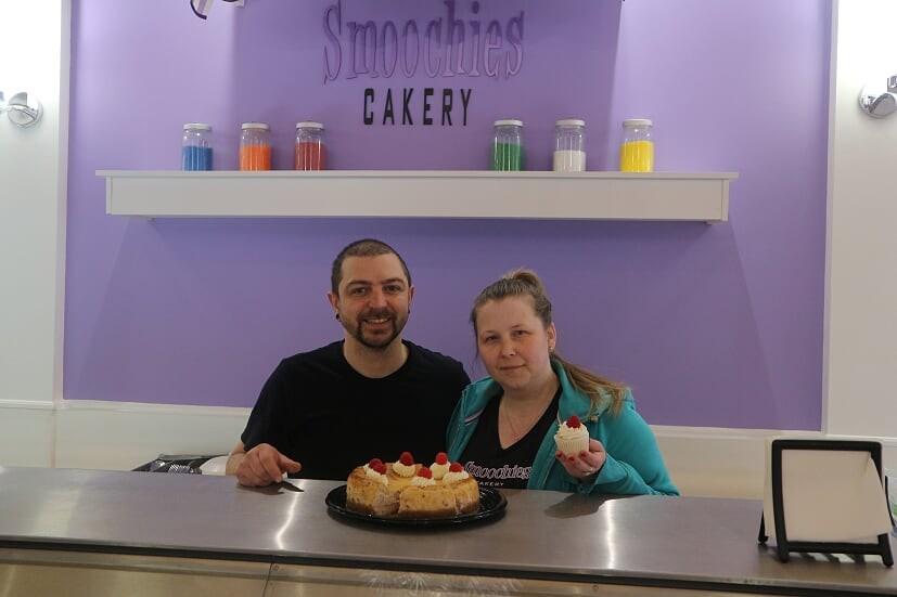 John Da Silva, left, and Melinda Coady own Smoochies Cakery in downtown Bradford. Natasha Philpott for BradfordToday