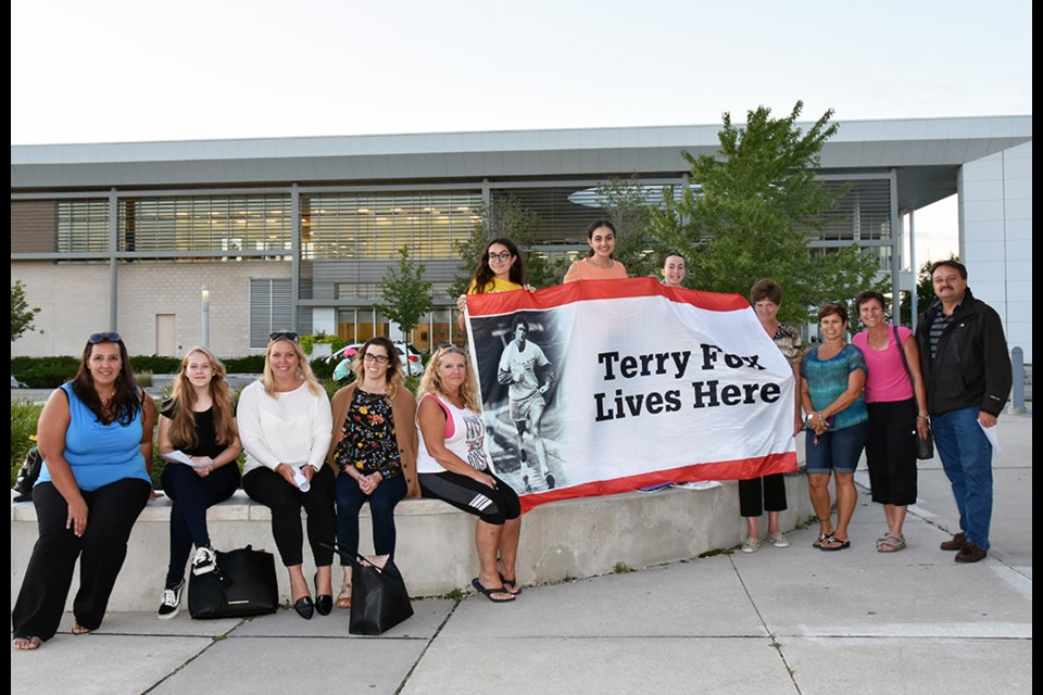Volunteers get ready for the 2018 Terry Fox Run in Bradford, taking place Sept. 16, starting on the west lawn of the Bradford West Gwillimbury Public Library. Miriam King/BradfordToday