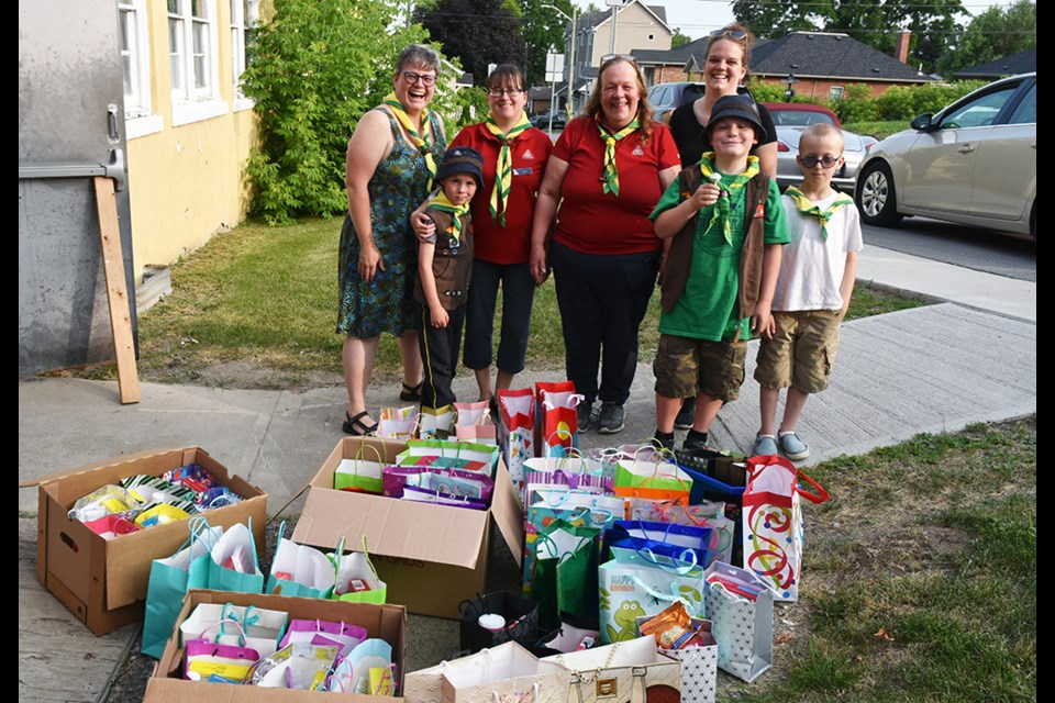 First Bradford Beavers and Scouters with Birthday Cake Bags. Even Beavers not working towards the North Star Award threw their energy into making up the bags for the food bank. Miriam King/Bradford Today