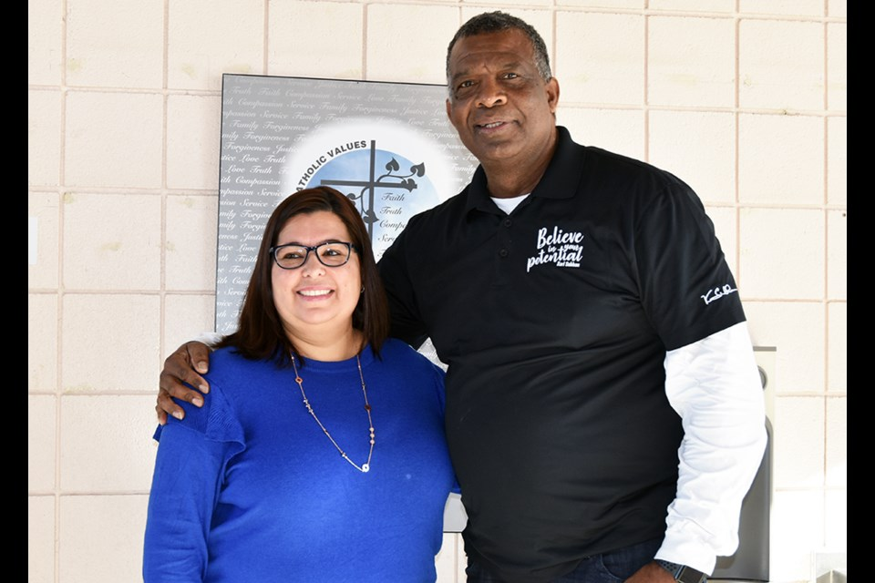Karl Subban, inspirational speaker, with St. Teresa of Calcutta Catholic School Principal Susie Newman, during Black History Month. Miriam King/Bradford Today