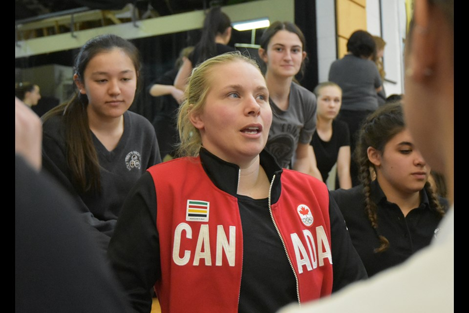 Member of the Canadian National Women's Hockey Team and Olympic medallist, Haley Irwin talks to high school students in Bradford. Miriam King/Bradford Today