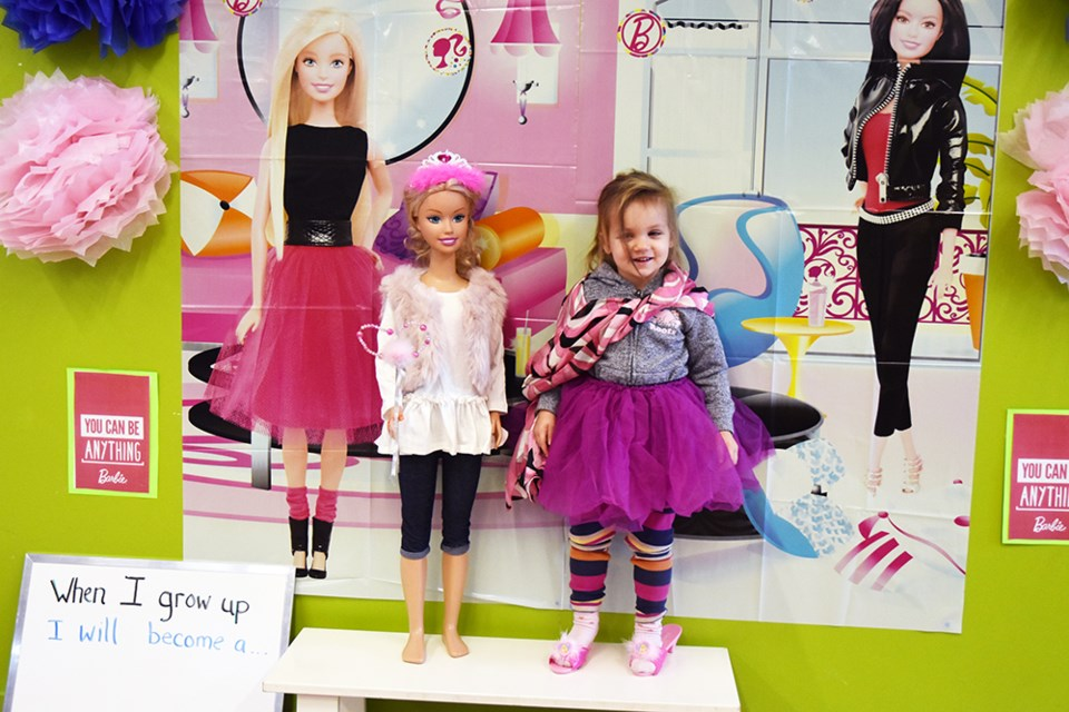 Dressing up to join Barbie at Library. The party, a Free Family Saturday event, celebrated the 60th anniversary of the iconic doll. Miriam King/Bradford Today