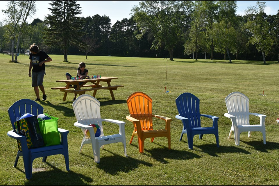 Lawn chairs, waiting for the crowds to arrive for Fresh Air Flicks, a free family movie screening at Innisfil Beach Park. Miriam King/Bradford Today