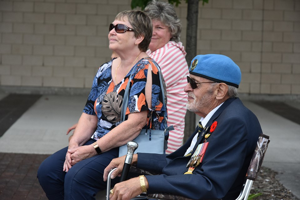 Michael Comeau, a veteran of UN peacekeeping and former president of the Central Ontario branch of CAVUNP, and his wife Carol attended this year's National Peacekeepers Day flag-raising in Bradford. Miriam King/BradfordToday