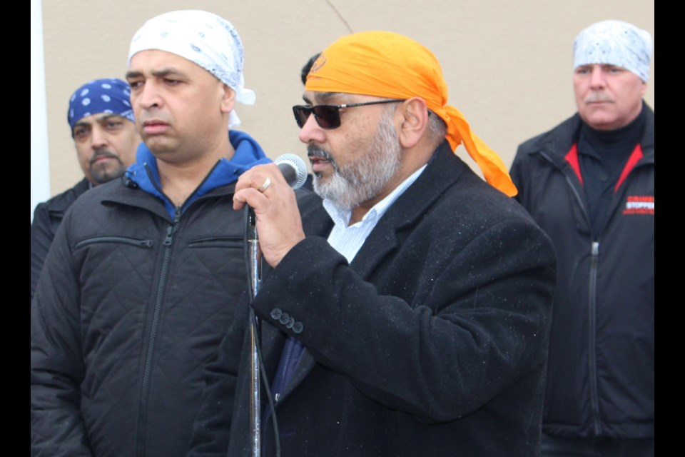 BWG Coun. Raj Sandhu speaks at Khalsa Day in downtown Bradford on April 14. The day marks the anniversary of the founding of the Sikh Order of the Khalsa by Guru Gobind Singh. Submitted photo/Nicholas Molnar