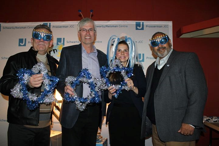 BWG Deputy Mayor James Leduc, from left, Mayor Rob Keffer, Barrie-Innisfil MPP Andrea Khanjin, and BWG Coun. Raj Sandhu at a Hanukkah festival Nov. 25. Submitted photo