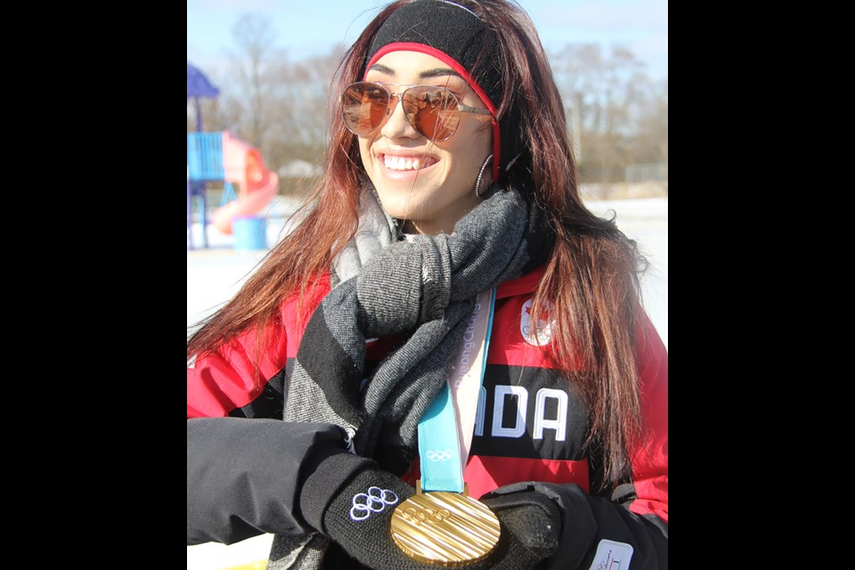 Gold medal figure skater Gabrielle Daleman was the special guest at the grand opening of Cookstown's new refrigerated ice rink. Wendy Ricciardi/Town of Innisfil